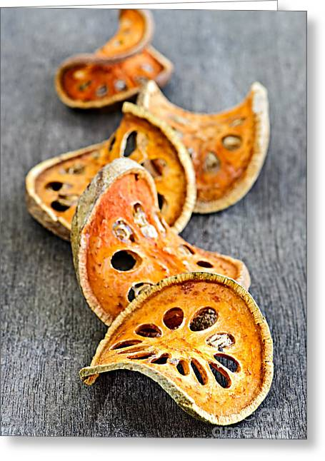 Rind Greeting Cards - Dried bael fruit Greeting Card by Elena Elisseeva