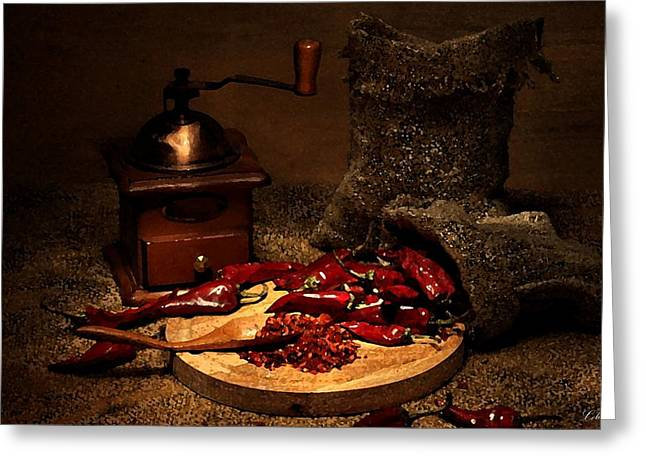 Spice Drawings Greeting Cards - Dried Chilies Greeting Card by Cole Black