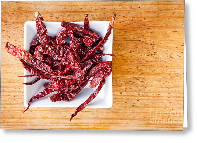 Dried Chilli Greeting Card by Tim Hester