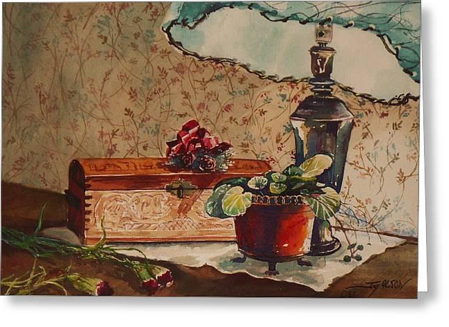 Bluish Green Greeting Cards - Dried Flowers Greeting Card by Joy Nichols