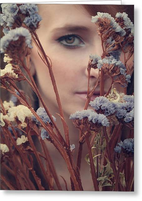 Girl Face Greeting Cards - Dried flowers Greeting Card by Wojciech Zwolinski