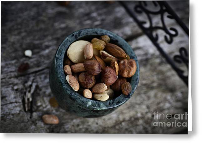 Apricot Greeting Cards - Dried fruit and nuts Greeting Card by Mythja  Photography