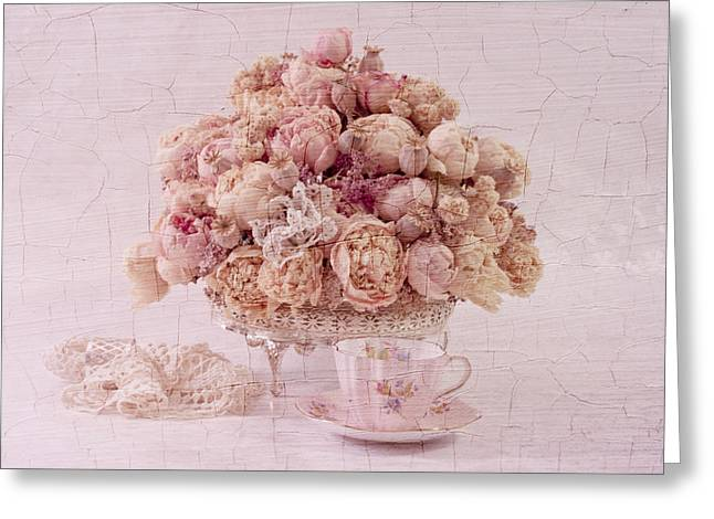 Interior Still Life Greeting Cards - Dried Peony Still Life Greeting Card by Sandra Foster
