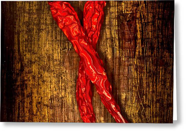 Dried pepperoni Greeting Card by Shawn Hempel