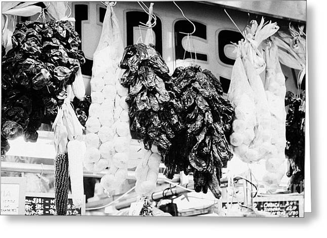 Fresh Produce Greeting Cards - dried peppers and garlic inside the la boqueria market in Barcelona Catalonia Spain Greeting Card by Joe Fox