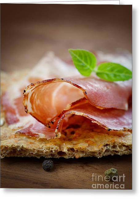 Delicatessen Meat Greeting Cards - Dried pork collar salami Greeting Card by Mythja  Photography