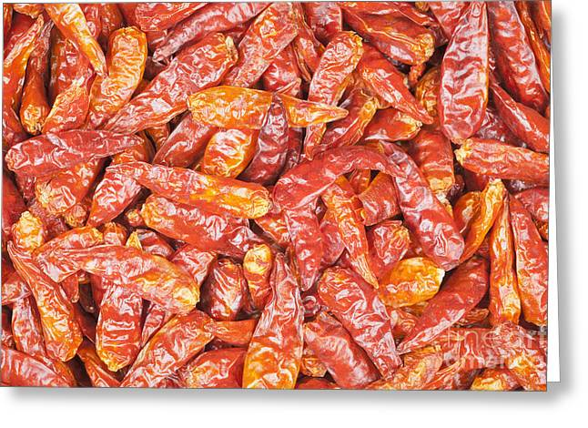 Cut-outs Greeting Cards - Dried red chili peppers from Vietnam Greeting Card by Roberto Morgenthaler