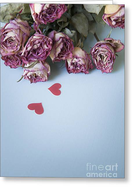 Roses Greeting Cards - Dried Roses with Paper Hearts Greeting Card by Jan Bickerton