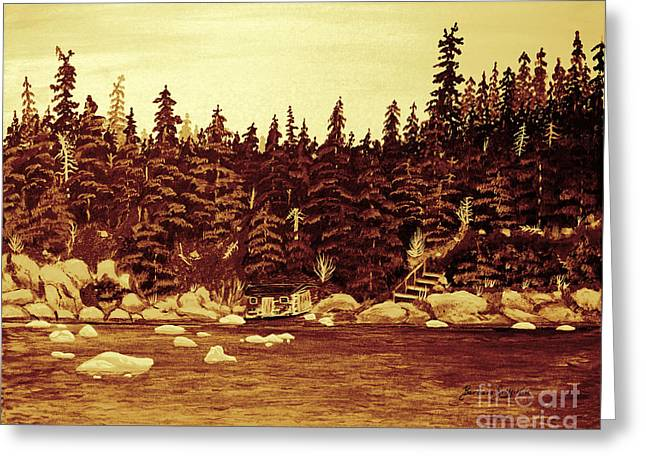 Bergy-bit Greeting Cards - Drift Ice in Sepia Greeting Card by Barbara Griffin