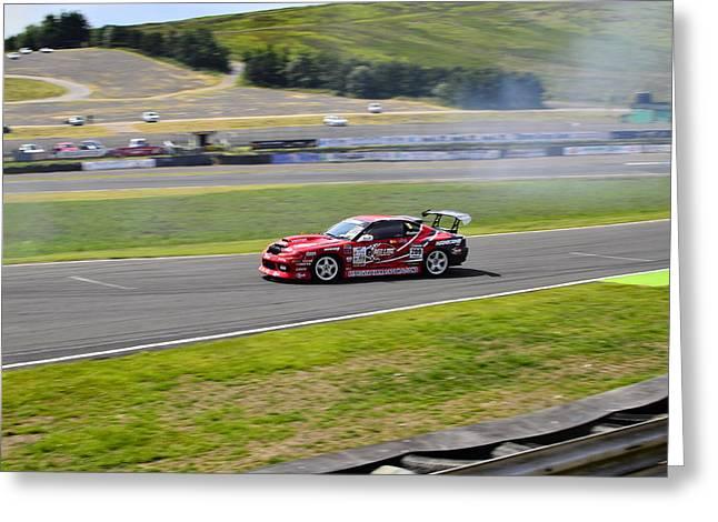 Prodrive Greeting Cards - Drift Racing Greeting Card by Phil Kellett