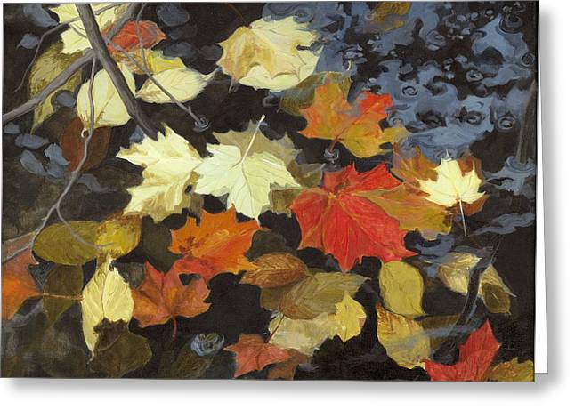 Autumn Leaf On Water Paintings Greeting Cards - Drifters Greeting Card by Karen  Bockus