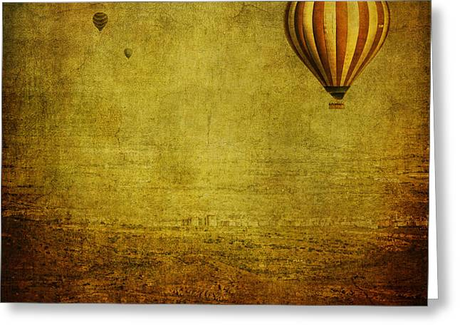 """hot Air Balloon"" Greeting Cards - Drifting Greeting Card by Andrew Paranavitana"