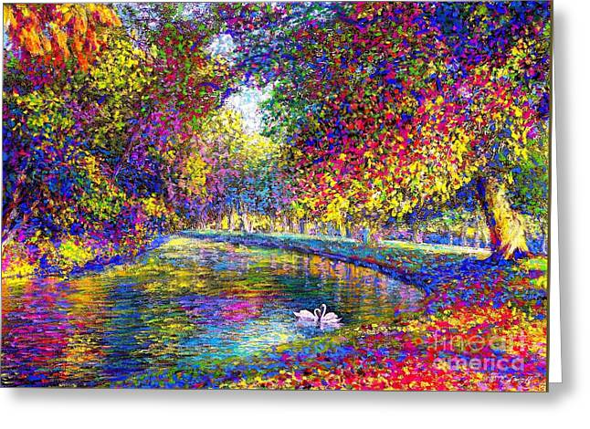 Multi-color Greeting Cards - Drifting Beauty Greeting Card by Jane Small
