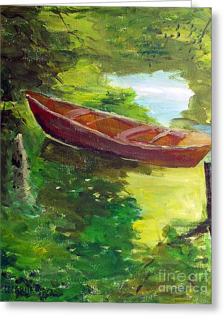 Canoe Paintings Greeting Cards - Drifting Greeting Card by Charlie Spear