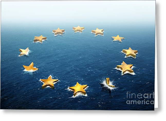 Financial Crisis Greeting Cards - Drifting Europe Greeting Card by Carlos Caetano