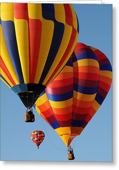 Three Hot Air Balloons Greeting Cards - Drifting on The Wind Greeting Card by Cyril Furlan