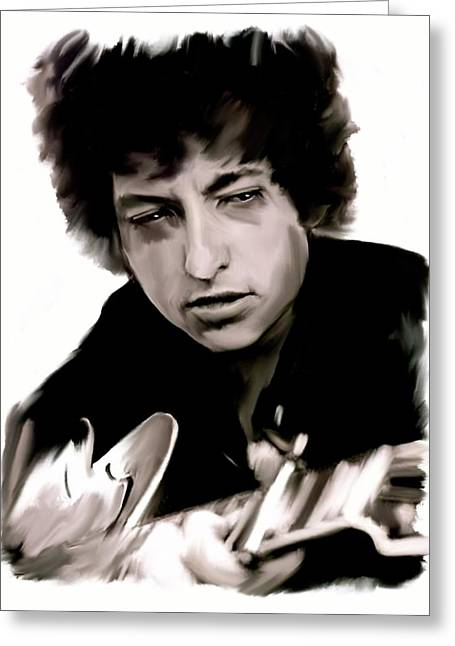 Bob Dylan Print Greeting Cards - Drifting Words II   Bob Dylan Greeting Card by Iconic Images Art Gallery David Pucciarelli