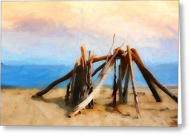 Rincon Beach Houses Greeting Cards - Driftwood Sculpture at Rincon Greeting Card by Ron Regalado