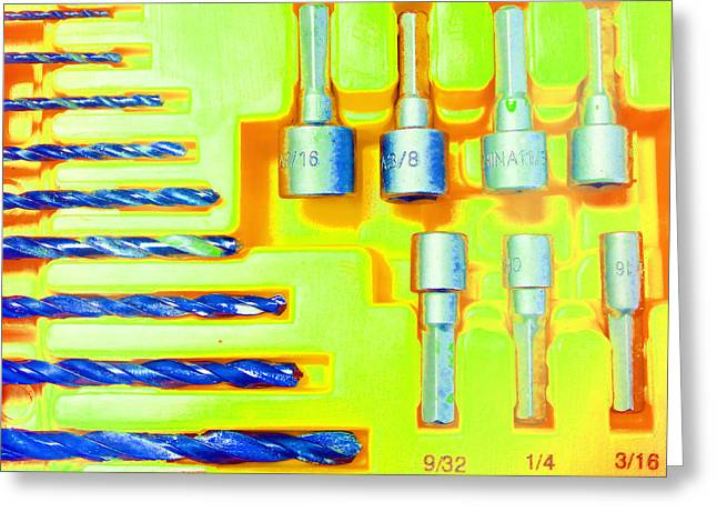 Circular Saw Greeting Cards - Drill Bits J Greeting Card by Laurie Tsemak