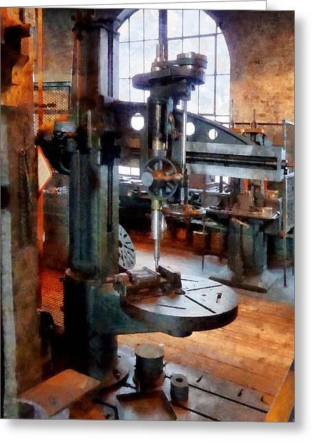 Steampunk Greeting Cards - Drill Press Near Window Greeting Card by Susan Savad