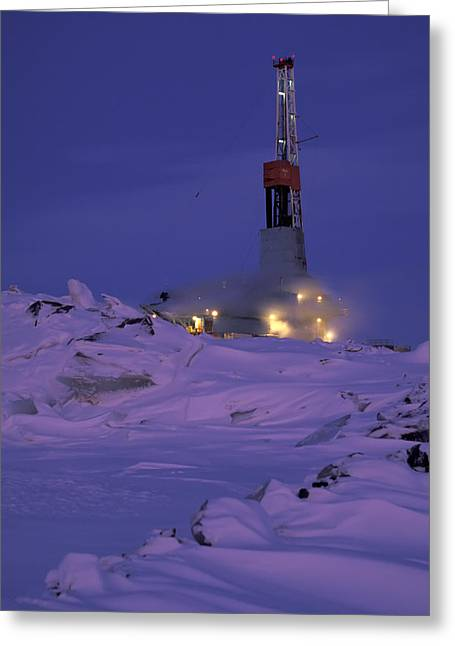 Best Sellers -  - Temperature Greeting Cards - Drill rig at night on North Slope at Prudhoe Bay Alaska Greeting Card by Chris Arend