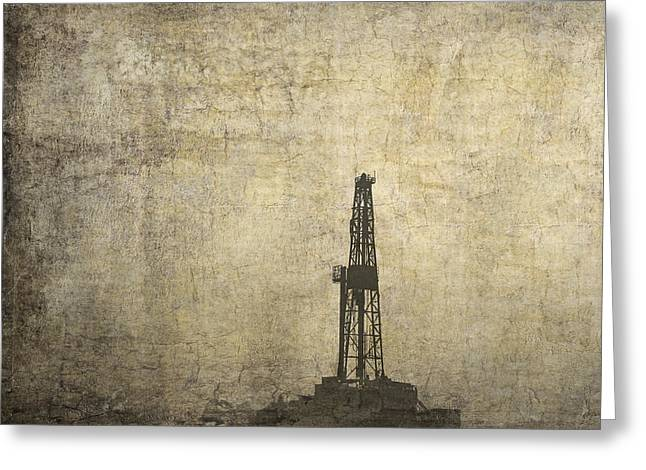 Marcelli Greeting Cards - DRILL RIG in the DISTANCE Greeting Card by Daniel Hagerman
