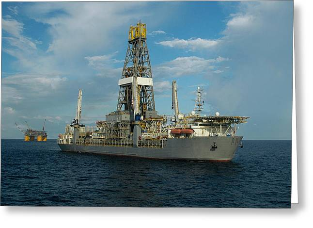 Off-shore Oil Greeting Cards - Drill ship and platform Greeting Card by Bradford Martin