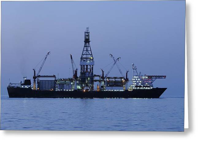 Drillship Greeting Cards - Drill ship before dawn Greeting Card by Bradford Martin