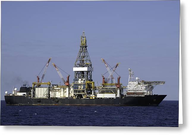 Drillship Greeting Cards - Drill Ship in Blue Ocean Greeting Card by Bradford Martin