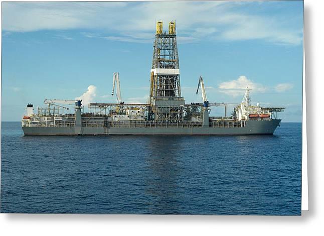 Drillship Greeting Cards - Drill Ship in Ocean Greeting Card by Bradford Martin