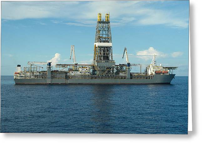 Drillship Greeting Cards - Drill Ship in Ocean Greeting Card by Bradford Martin