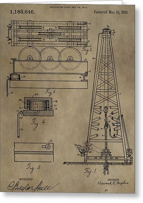 Oil Platform Greeting Cards - Drilling Oil Rig Patent Greeting Card by Dan Sproul