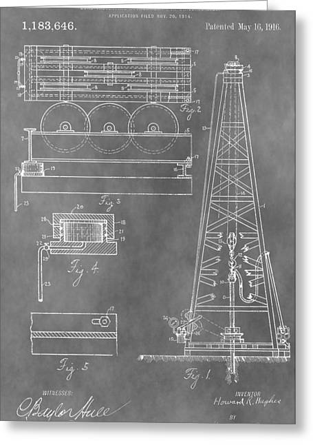 Oil Platform Greeting Cards - Drilling Rig Patent Greeting Card by Dan Sproul