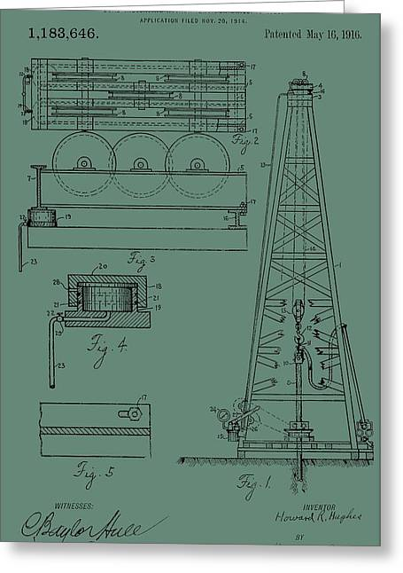 Oil Platform Greeting Cards - Drilling Rig Patent On Green Greeting Card by Dan Sproul