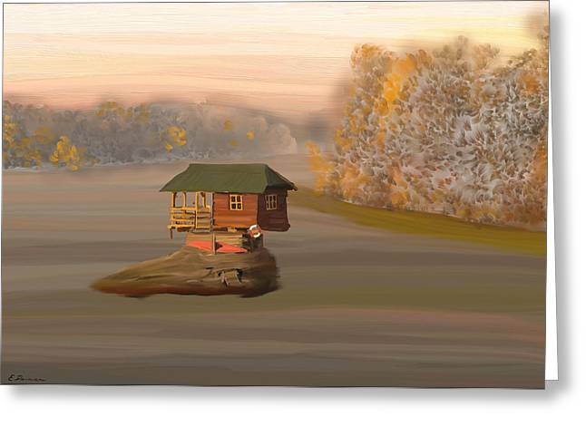 Boats In Water Greeting Cards - Drina House in Morning Mist Greeting Card by Eliza Donovan