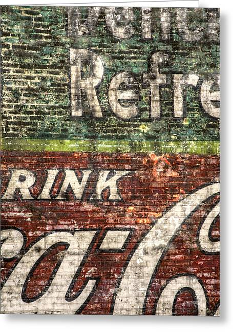 Red Buildings Greeting Cards - Drink Coca-Cola 1 Greeting Card by Scott Norris