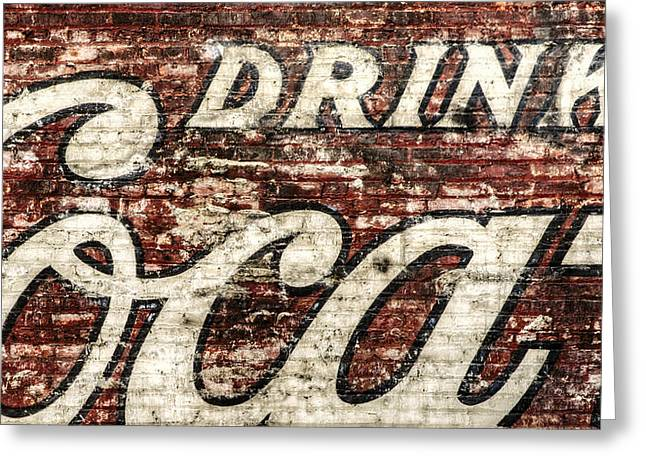 Retro Typography Greeting Cards - Drink Coca-Cola 2 Greeting Card by Scott Norris