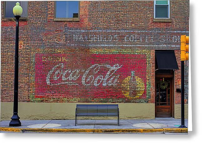 Coca-cola Mural Greeting Cards - Drink Coca-Cola Greeting Card by Rhonda McClure