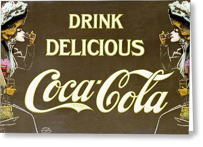 Edwardian Digital Greeting Cards - Drink Delicious Coca Cola Greeting Card by Nomad Art And  Design