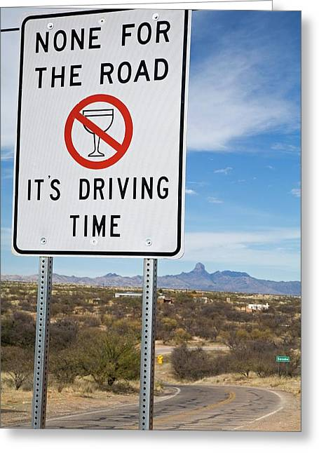 Drink-driving Warning Sign Greeting Card by Jim West