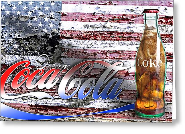 Recently Sold -  - Flag Of Usa Greeting Cards - Drink Ice Cold Coke 6 Greeting Card by James Sage