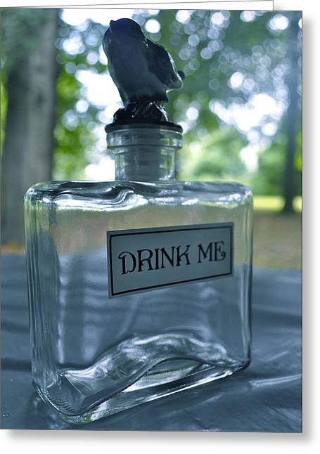 Labelled Greeting Cards - Drink Me Greeting Card by Brynn Ditsche