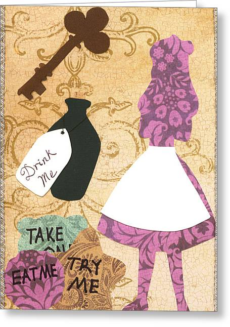 March Hare Mixed Media Greeting Cards - Drink Me Eat Me Greeting Card by Savannah Bertozzi