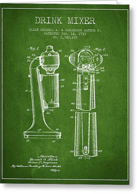 Shakers Greeting Cards - Drink Mixer Patent from 1930 - Green Greeting Card by Aged Pixel