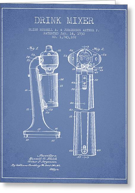 Shakers Greeting Cards - Drink Mixer Patent from 1930 - Light Blue Greeting Card by Aged Pixel