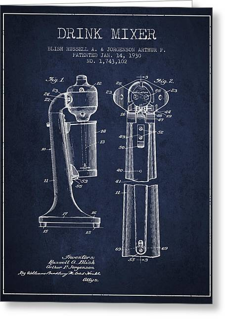 Drink Mixer Patent From 1930 - Navy Blue Greeting Card by Aged Pixel