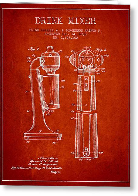 Shakers Greeting Cards - Drink Mixer Patent from 1930 - Red Greeting Card by Aged Pixel