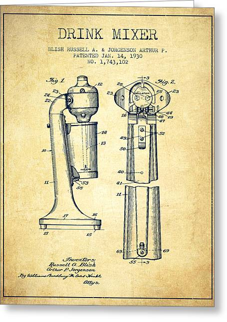 Shakers Greeting Cards - Drink Mixer Patent from 1930 - Vintage Greeting Card by Aged Pixel
