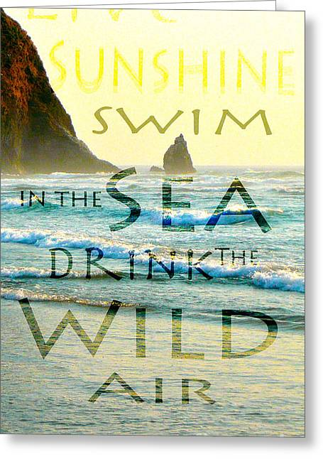 Teshia Art Greeting Cards - Drink the Wild Air Greeting Card by Teshia Art