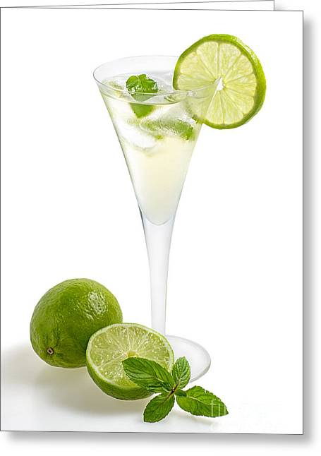 Prosecco Greeting Cards - Drink with lime and mint in a champagne glass Greeting Card by Palatia Photo
